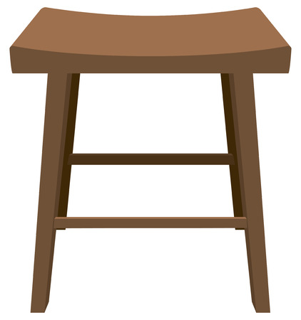 old fashioned: Wooden stool with a biometric seat. Vector illustration.