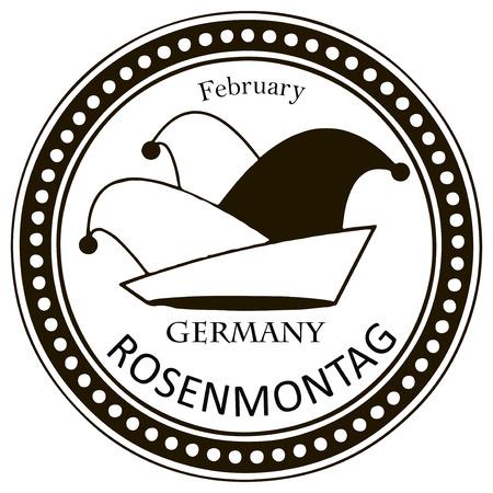 buffoon: Rosenmontazh - celebrated on February 2 in Germany. Vector illustration. Illustration