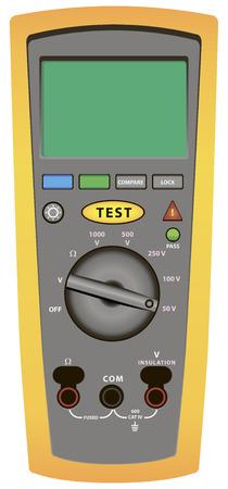 circuitos electricos: Meg�hmetro digital - una herramienta moderna para el control de los circuitos el�ctricos. Ilustraci�n del vector. Vectores