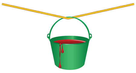 Green bucket with red paint on the rope. Vector illustration.