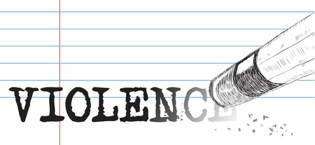 incentive: Creative on a theme of violence, a pencil eraser and word violence. Vector illustration. Illustration