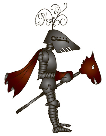 Medieval knight on a toy horse. Vector illustration.