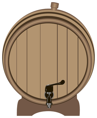Wooden barrel with a tap on the stand. Vector illustration. Illustration