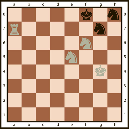 moves: Mate in two moves on the chessboard and the character set of chess pieces. Vector illustration.