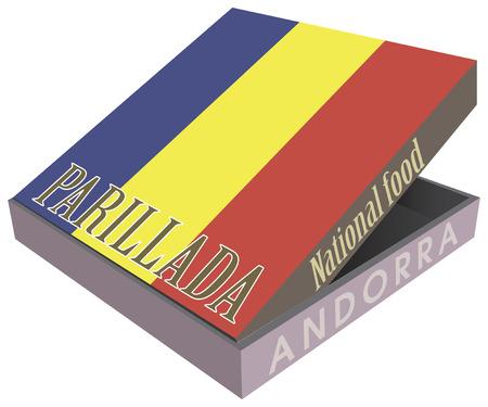 barbecue ribs: Parillada - National food from Andorra in a cardboard box. Vector ilolyustratsiya.