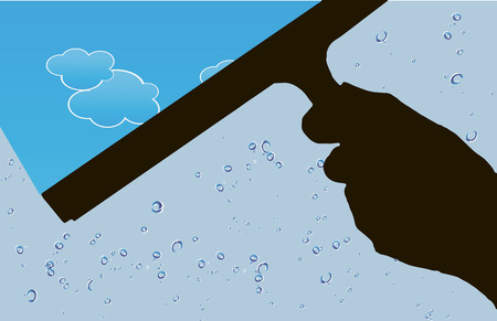 Human hand with a tool for cleaning windows. Vector illustration.