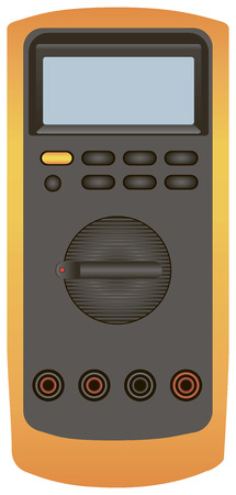 impedance: Digital multimeter for industrial control circuits. Vector illustration.
