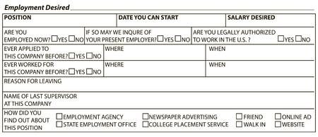desired: Information form to fill worker - Desired work. Vector illustration.