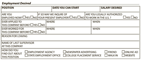 Information form to fill worker - Desired work. Vector illustration.
