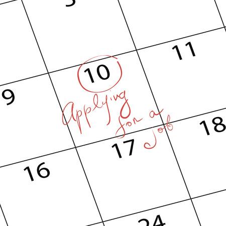 Het aanvragen van een baan, wordt opgemerkt op de kalender. Vector illustratie. Stock Illustratie