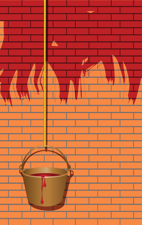 Bucket of paint on the rope, painting the walls red. Vector illustration. Çizim