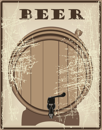 Beer barrel plugged plug and tap on the stand. Vector illustration.