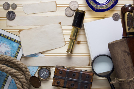 treasure hunt: Set a treasure hunt and a traveler with accessories. Stock Photo