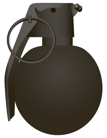 Spherical modern grenade with a locking ring. Vector illustration.