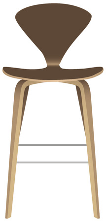 Contemporary stool with backrest on high legs. Vector illustration.