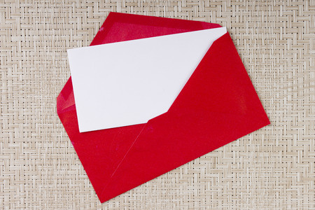 envelope: Letter in a red envelope for invitations to visit.