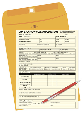 new testament: The application form for the vacancy to the mail envelope. Vector illustration.