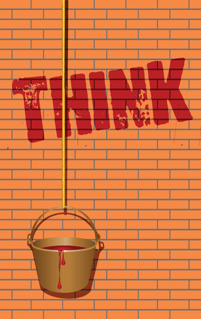 Think writing on the wall and a bucket on a rope with paint. Vector illustration. Иллюстрация