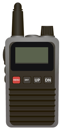 Portable radio transmitter miniature equipment. Vector illustration.