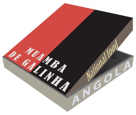 Muamba デ Galinha - アンゴラの料理の伝統的な料理をボックスします。ベクトル ilolyustratsiya。