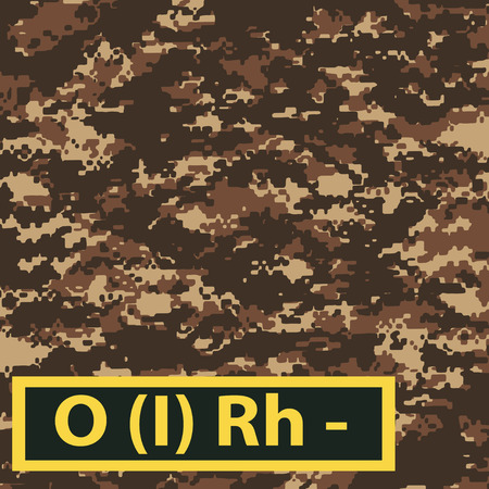 firstaid: Badge blood group with Rh negative on brown camouflage background. Vector illustration.