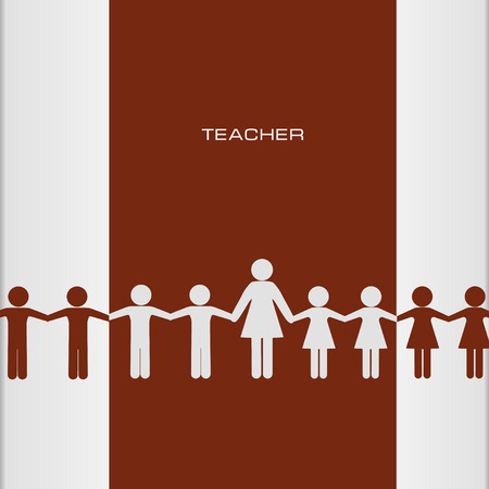 pupil's: Abstract poster - teacher with pupils. Vector illustration.