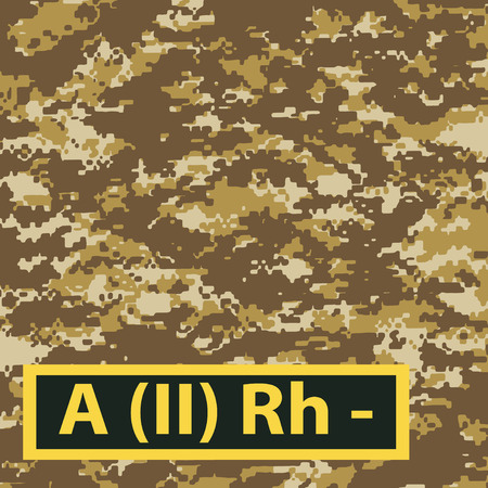 firstaid: Badge of the second group of blood with a negative Rh on a light brown camouflage background. Vector illustration.