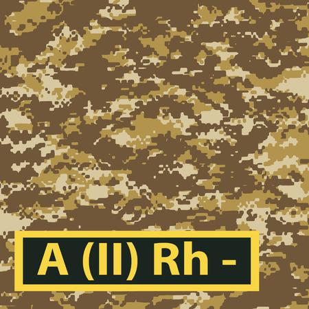 firstaid: Insignia del segundo grupo de sangre con un Rh negativo en un camuflaje fondo marr�n claro. Ilustraci�n del vector.