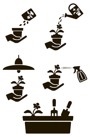 house plants: Set of symbols for the care of house plants