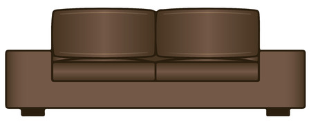 settee: Sofa for two seats to accommodate the interior. Vector illustration.