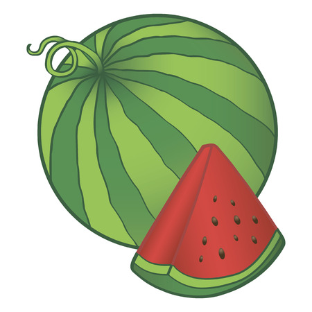 Watermelon with a segment containing seeds. Vector illustration.