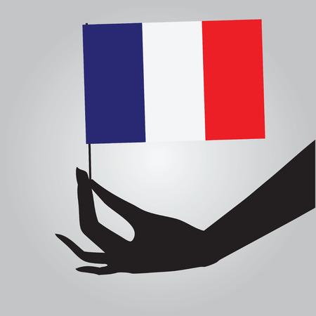 Flag of France in a female hand. Vector illustration.