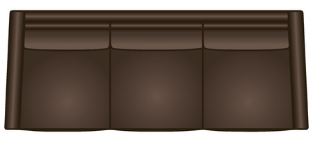 Classic sofa for home and office, top view. Vector illustration.