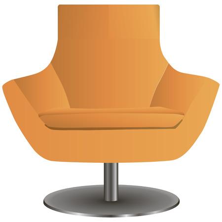 Modern chair on the central steel leg. Vector illustration.