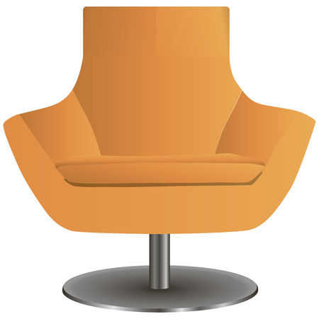 Modern chair on the central steel leg. Vector illustration.