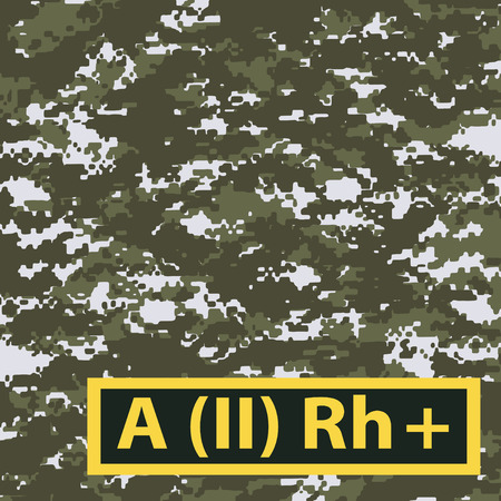 Badge of the second group of blood, with a positive Rh on a light green camouflage background. Vector illustration.