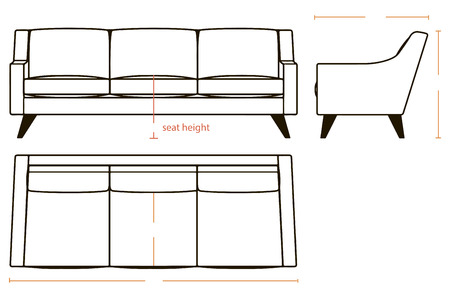 three dimensions: The basic dimensions of household sofa in three projections. Vector illustration.
