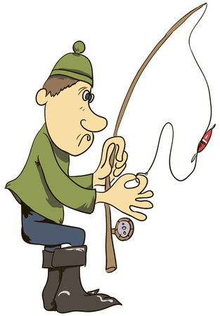 Cartoon man fisherman with a fishing rod. Vector illustration.