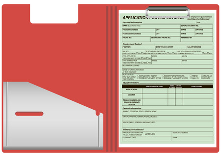 dossier: Red plastic folder with the application form for employment. Vector illustration. Illustration