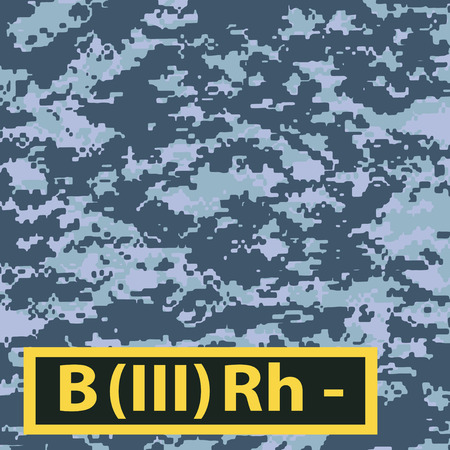 Badge of the third group of blood with a negative Rh on a blue camouflage background. Vector illustration.