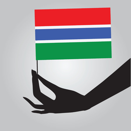 gambia: Flag of Gambia in a female hand. Vector illustration.