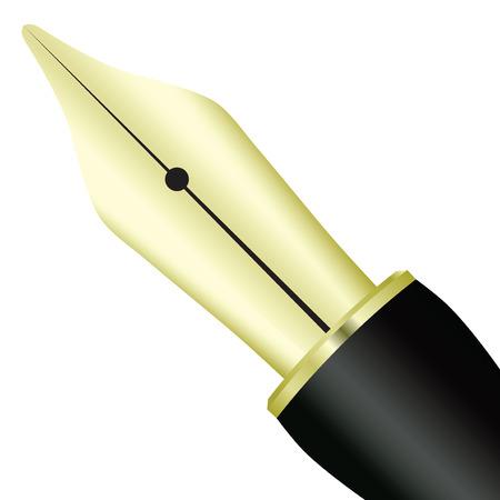 Pen ink pen yellow metal. Vector illustration.