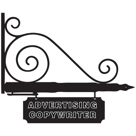 fermo: I cartelli stradali per l'azienda Pubblicit� Copywriter. Illustrazione vettoriale.