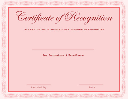 valuation: This certificate is awarded to a Advertising Copywriter.