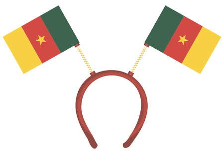 Witty headdress with flags Cameroon. Vector illustration. 向量圖像