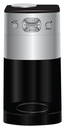 Electrically programmable coffee maker with digital display. Vector illustration.