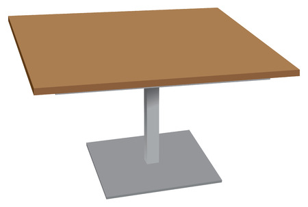 Wooden table with stand stainless steel for outdoor environments. Vector illustration.