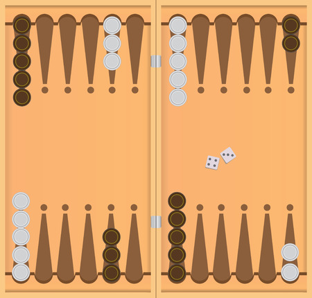 The starting position in the game of backgammon. Vector illustration. Illustration