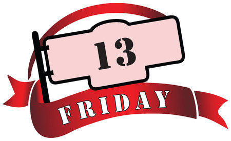 13th: Banner by Friday the 13th - a day tribulations. Vector illustration.