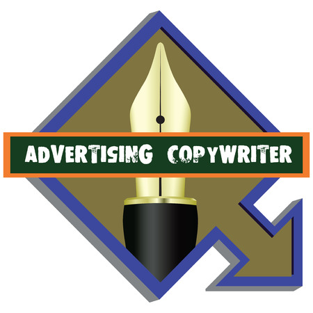 copywriter: A pointer to the firm Advertising Copywriter. Vector illustration.